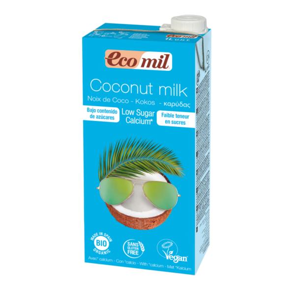 """Bio EcoMil Bautura """"Lapte de Cocos"""" Low Sugar imbogatit cu Calciu Marin Organic, Ecologic - 1L"""