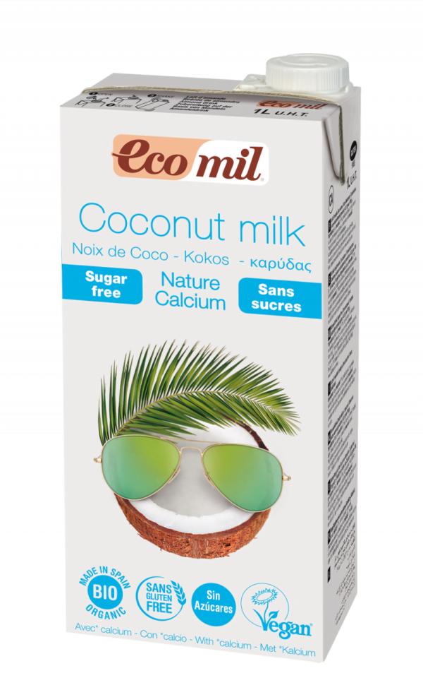 Lapte de Cocos Nature fara zahar imbogatit cu Calciu Marin, Ecologic - Bio EcoMil - 1L