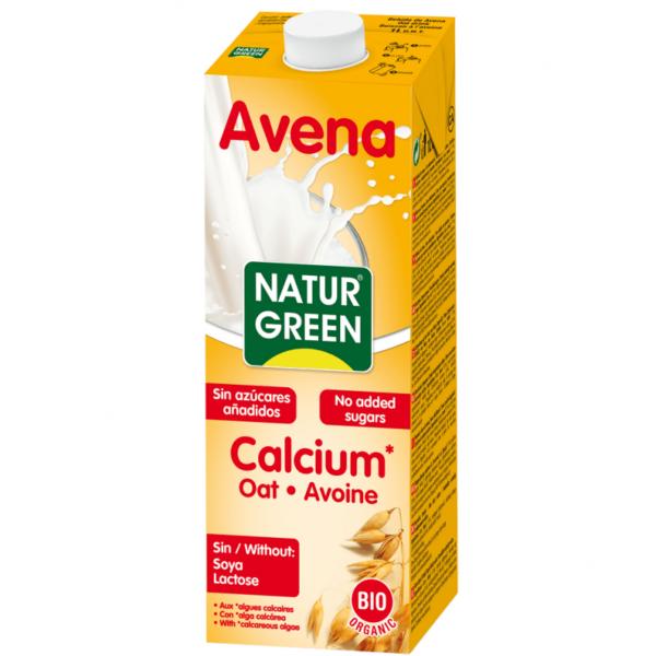 Lapte din Ovaz cu Calciu Marin Organic Neindulcit BIO NaturGreen - cutie 1000ml