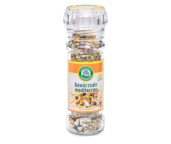 Eticheta Produs Cristale de Sare de Mare si Codimente Mediteraneene Ecologic, BIO LEBENSBAUM - 55 g