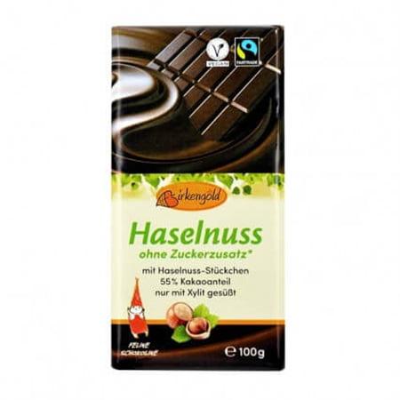 Ciocolata cu Alune, Vegana, Fara Zahar (55% CACAO) - BIRKENGOLD - 100 g. Poza 6705